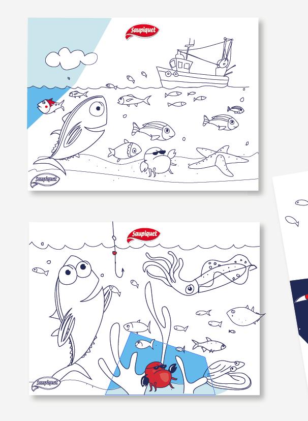 """Série de cartes à colorier Saupiquet pour l'événement """"Parenthèse marine"""""""