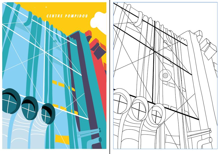Centre Pompidou coloriage 2